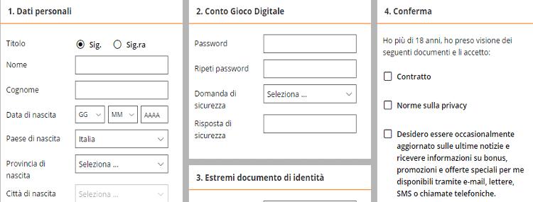 gioco digitale registrazione