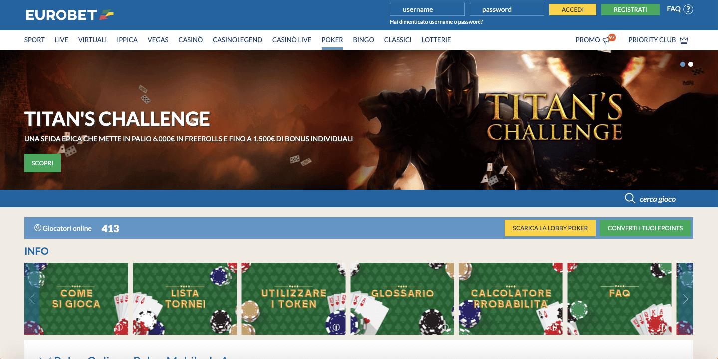 eurobet homepage poker