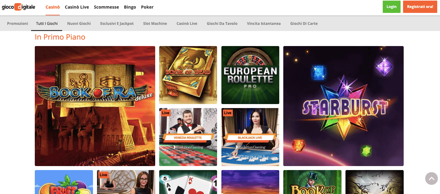 gioco digitale casino homepage