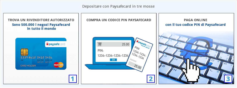 passaggi per deposito paysafecard
