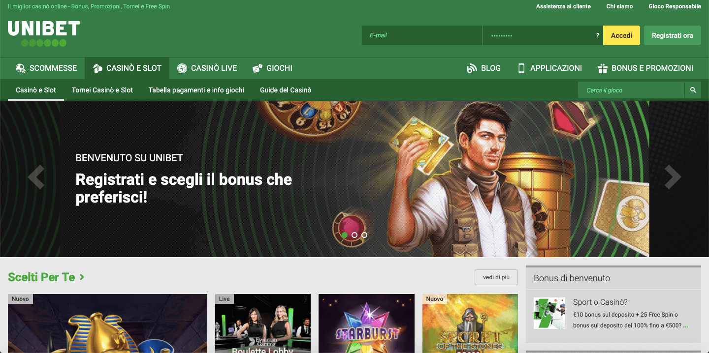Unibet Casinò Screenshot
