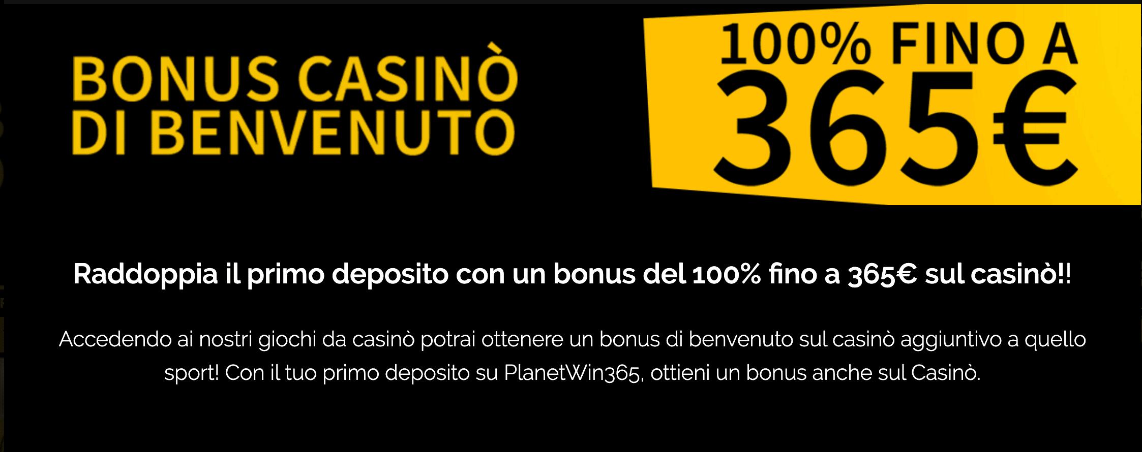 Planetwin365 Casino Bonus Benvenuto