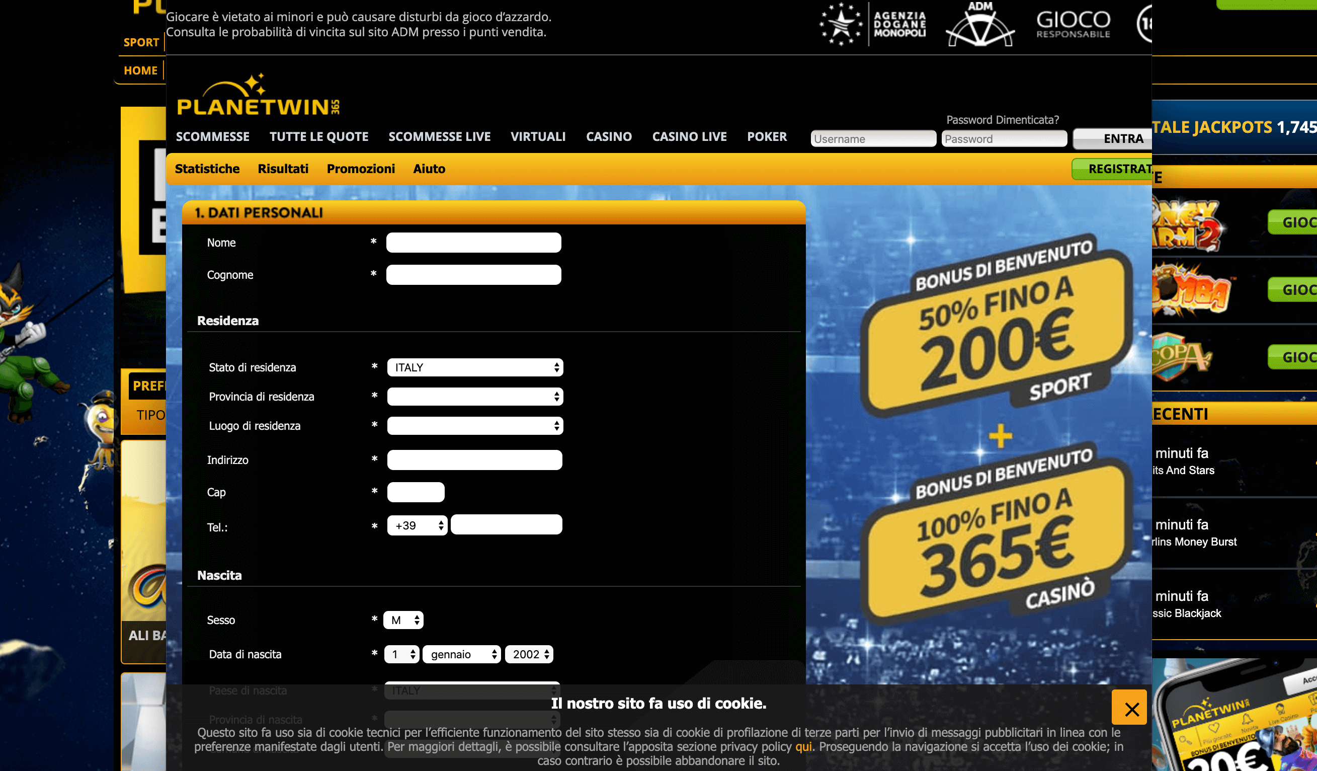 Planetwin365 Registrazione