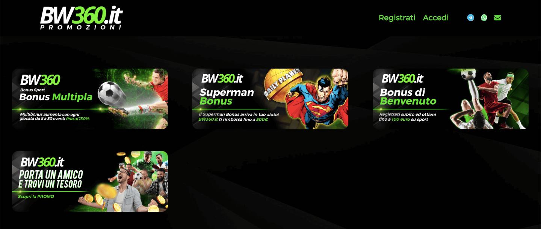 bw360 betwin360 bonus benvenuto scommesse