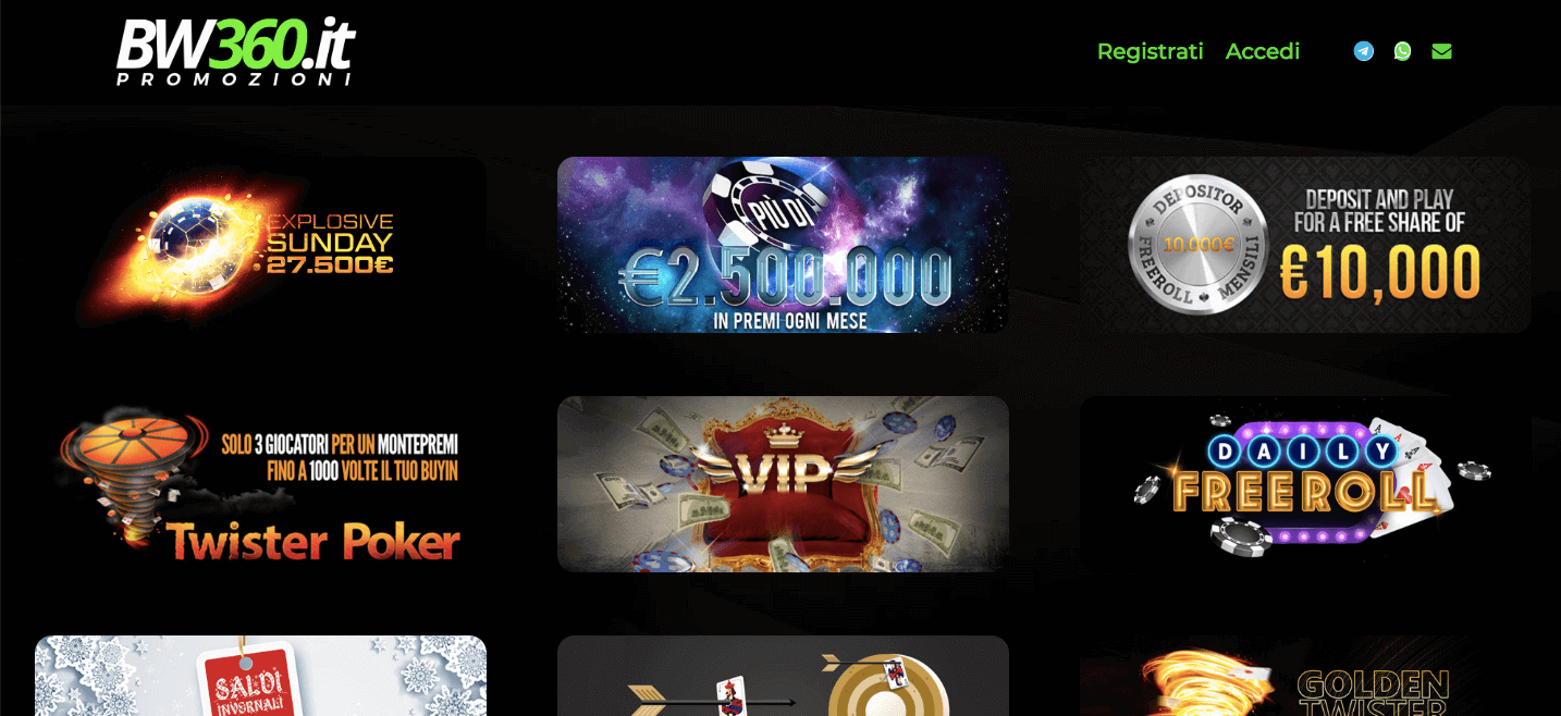 bw360 promozioni poker