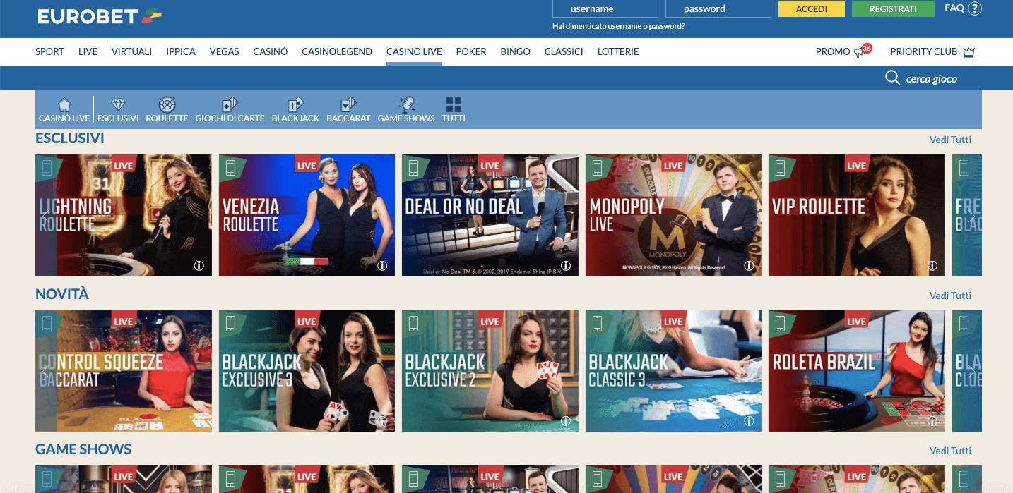 eurobet casino giochi live