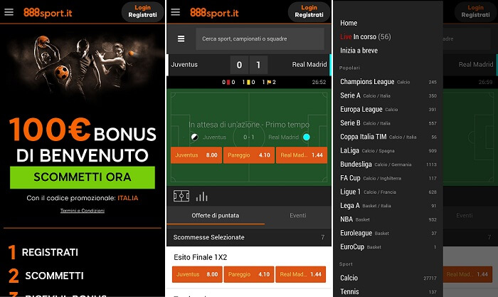 888sport app android ios mobile Italia