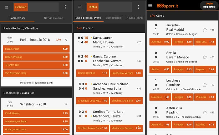 App 888 sport disponibile per Mobile per Android