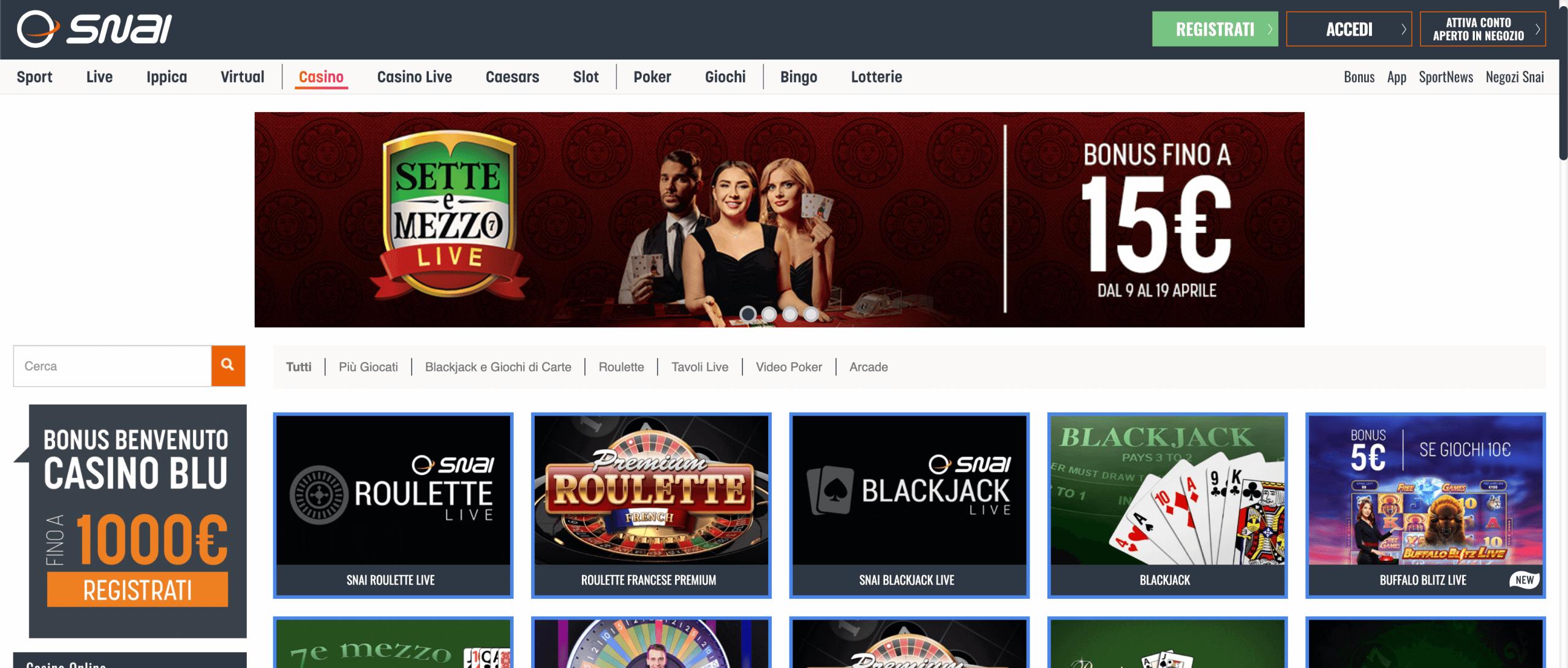 Snai Casino Screenshot