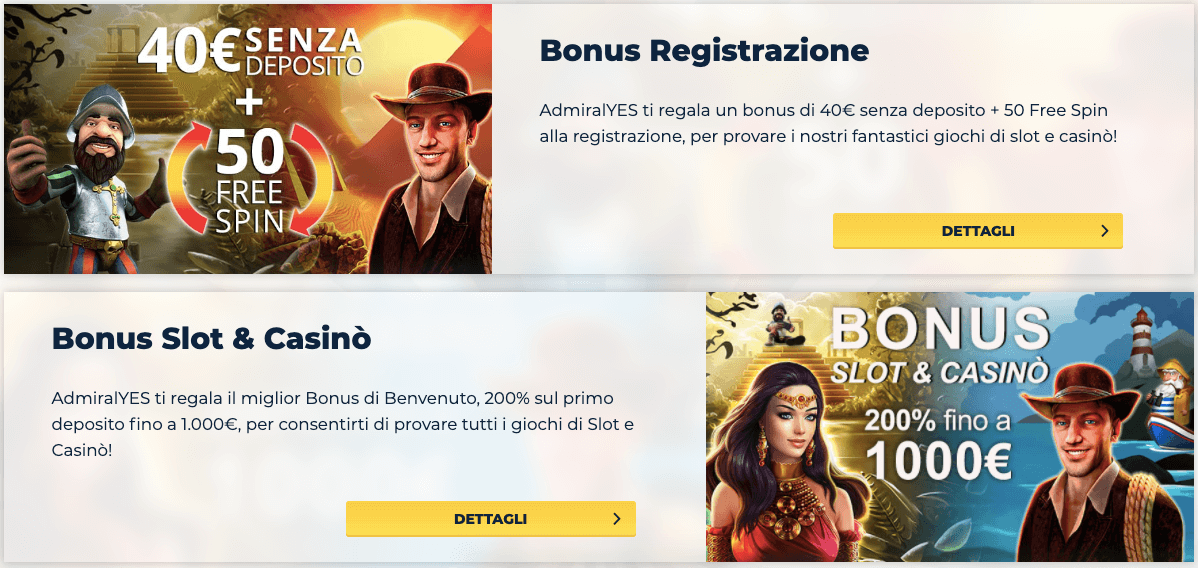 AdmiralYES Casino Bonus Benvenuto