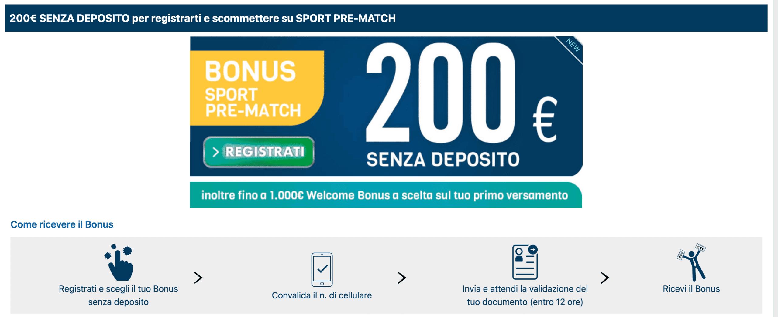 betflag bonus benvenuto sport