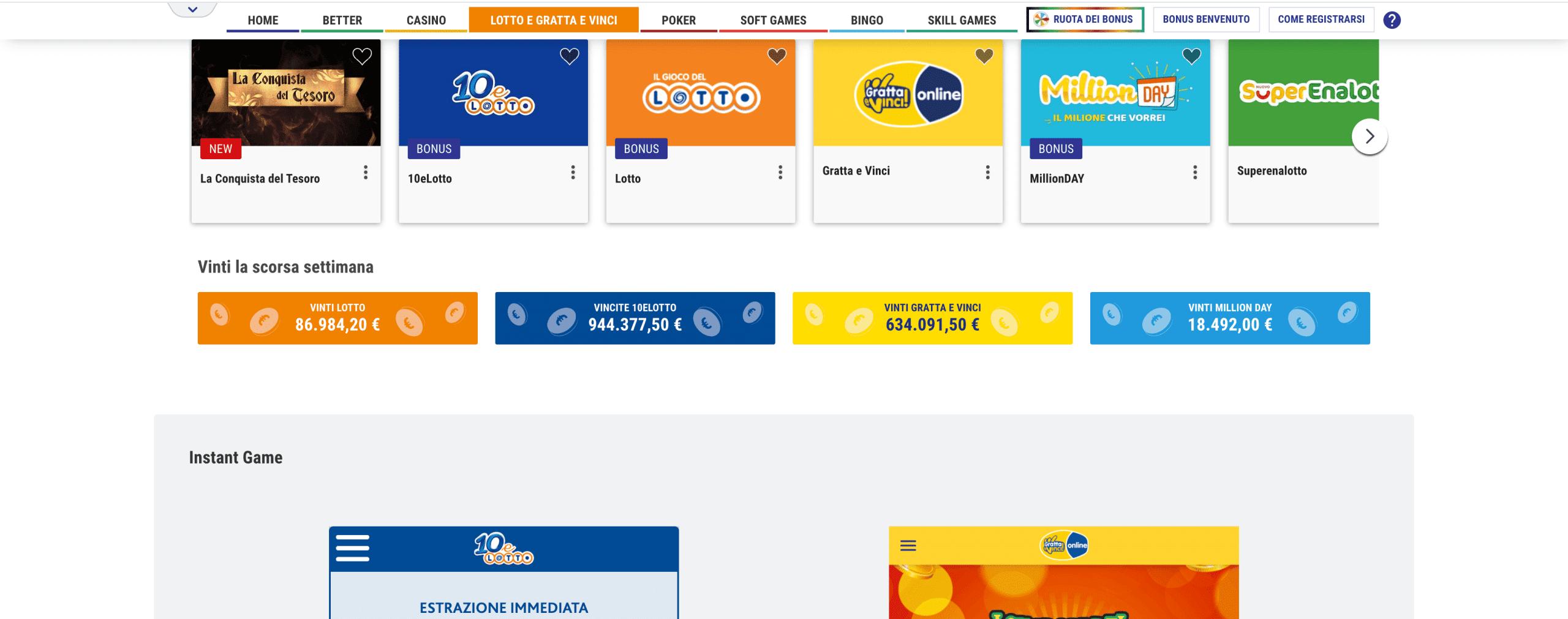 lottomatica sezione lotterie